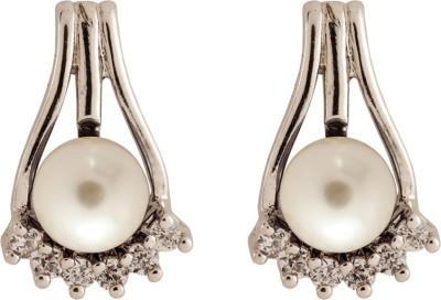 Siyora Classic Off White Cubic Zirconia Brass Stud Earring