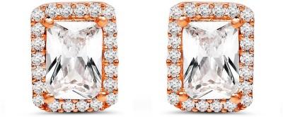 Johareez White Cubic Zirconia Gemstone Rose Gold Plated Brass Earrings Cubic Zirconia Brass Stud Earring
