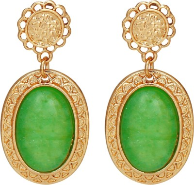 Amour Elegant Green Water Drop Big Gem Alloy Drop Earring