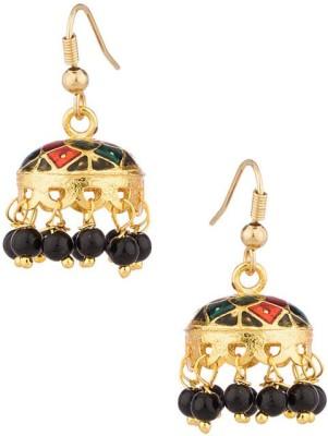Gemshop Aesthetic Jhumki Pair With Enamel Work And Black Beads Alloy Jhumki Earring