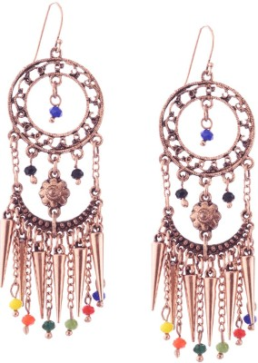 Trinketbag Multi beaded Golden chain hanging Alloy, Glass Dangle Earring