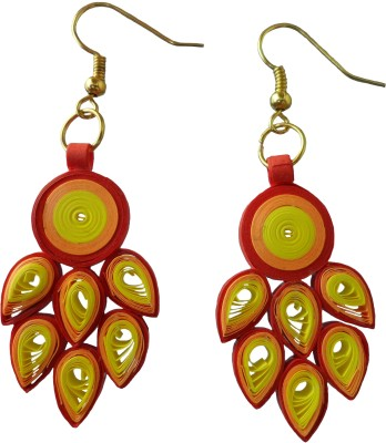Designer's Collection Quilled Yellow & Red Designer Paper Drop Earring