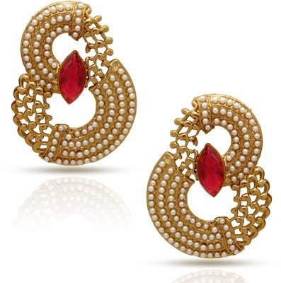 Oviya Curvy Pearls Crystal Alloy Drop Earring