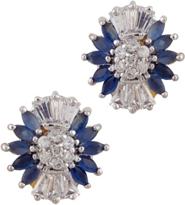 Styleos Blue & White Flora-Dise Cubic Zirconia Alloy Stud Earring