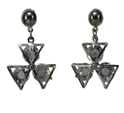 Bandish Silver toned with Encased Stones Metal Dangle Earring