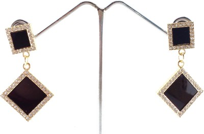 Divitha Allure geometrical design black danglers embellished with white stone. Alloy Drop Earring