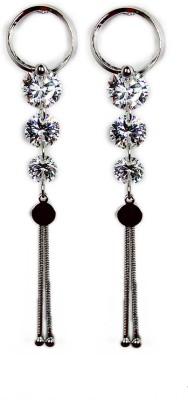 000 Fashions 3 Tier Silver Crystal Earrings Crystal Alloy Hoop Earring