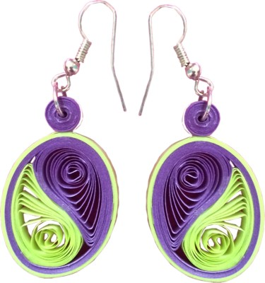 Vaishali's Quilling Jewellery Purple And Green Colour Paper Dangle Earring