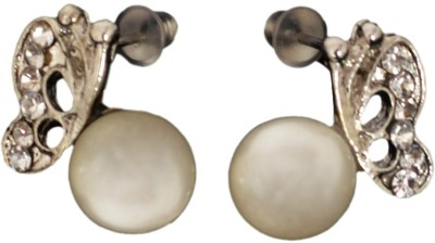 Ak Zopping Collection Alloy Butterfly Pearl Stud Earring Metal Stud Earring