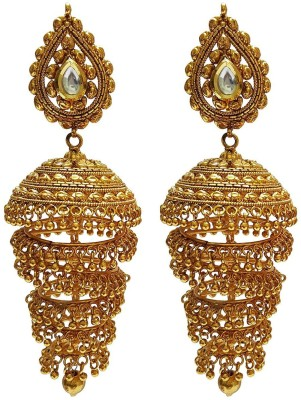 Mehrunnisa Traditional Ethnic Long Gold Plated Jhumka Copper Drop Earring