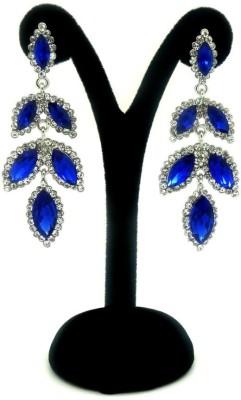 London Jewels Leafy Blue Alloy Drop Earring