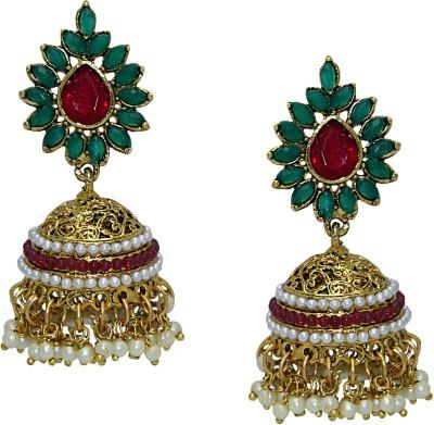 Aarnaa Rubi Green Designer Pearl Beaded Earings Alloy Jhumki Earring
