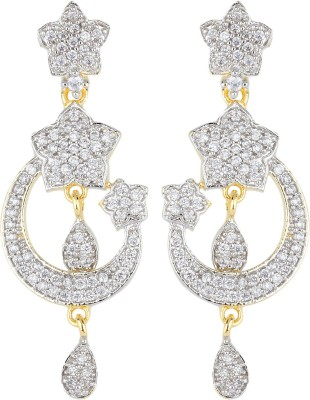 Bling N Beads Sparkle American Diamond Silver, Alloy Chandelier Earring