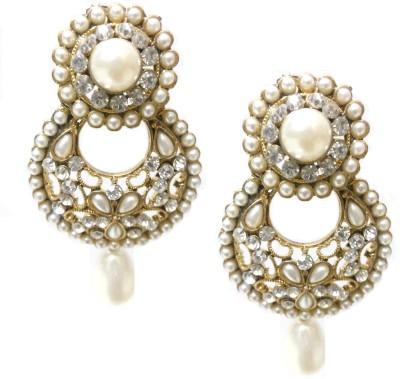 Utopian Pearl and White Stone Alloy Chandbali Earring