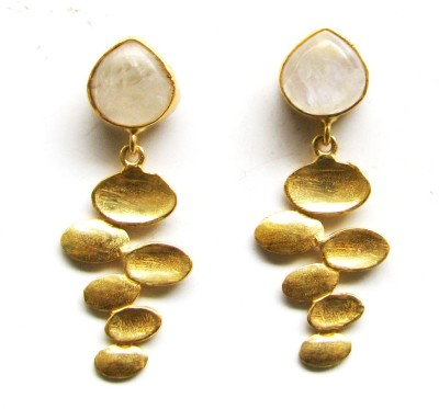 Bhrti semi precious Gold plated Moonstone Brass Dangle Earring