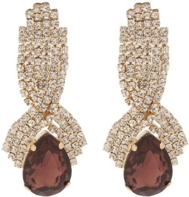 RIANZ New Elegant Gold Plated Wine Color Stone and Crystals Alloy, Crystal Dangle Earring