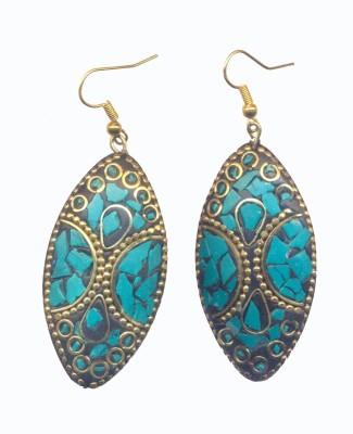 Pearls India Ellipse Green Metal, Lac Dangle Earring