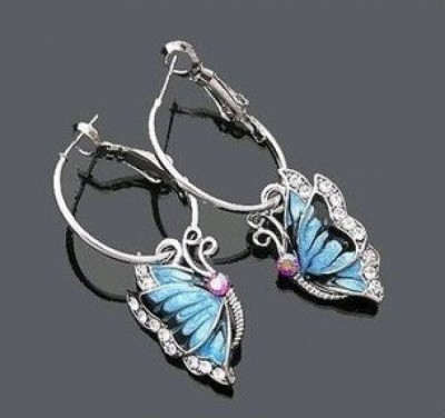 Crunchy Fashion Blue Butterfly Alloy Hoop Earring