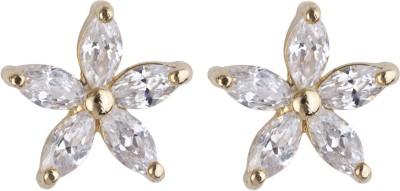 Siyora Classic White Cubic Zirconia Brass Stud Earring