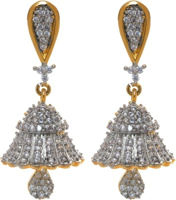 Gliteri Bell shaped sparklng Cubic Zirconia Copper Jhumki Earring