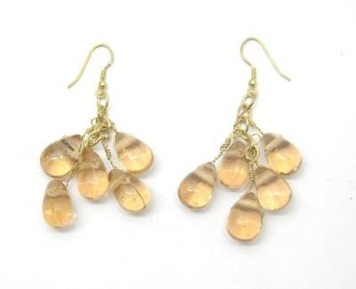 CFM Polished Bead Metal, Glass Dangle Earring