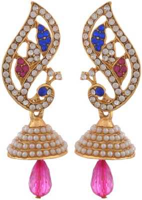 Blacksmith Feather Pink Crystal Metal Jhumki Earring