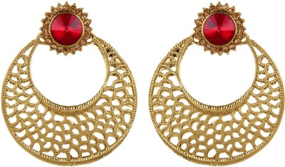 Fabula Gold & Maroon Red Zircon American Diamond AD CZ Traditional Ethnic Jewellery Jewellery Filigree for Women, Girls & Ladies Metal Dangle Earring