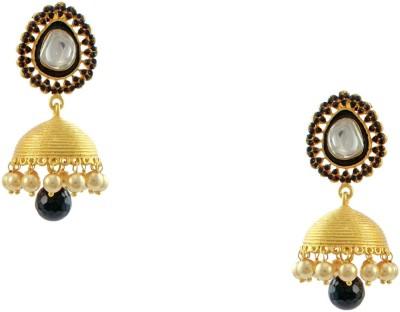 Orniza Rajwadi Jhumki Earrings in Black Color and Golden Brass Jhumki Earring