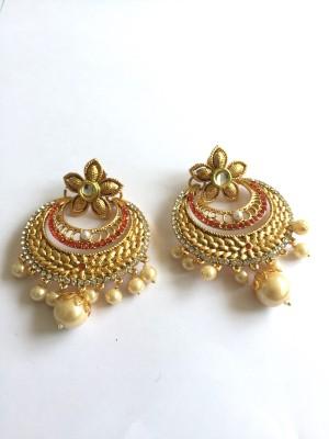 Arkina Diamonds Red Desire Brass Chandbali Earring
