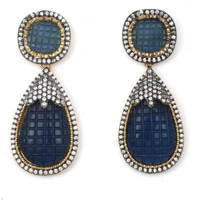 Magiq Twin-Pine Sparkle Stone, Brass Drop Earring