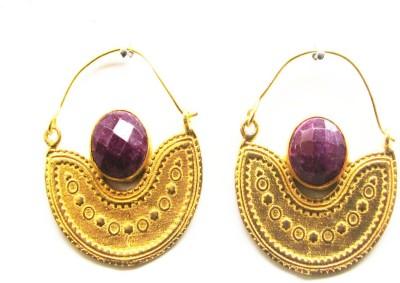 Gharaz semi precious Gold plated Ruby Brass Hoop Earring