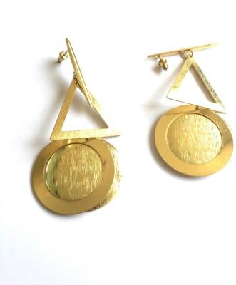 Arkina Diamonds Golden Abstract Brass Chandbali Earring