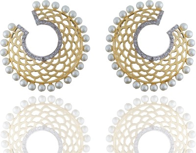 Chaahat Fashion Jewellery Gold Plated With Pearl Cubic Zirconia Copper Stud Earring