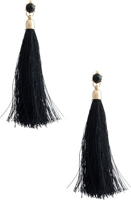 20Dresses The Black Fringe Metal, Fabric Drop Earring