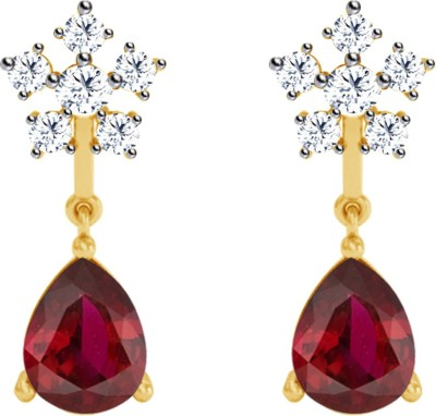JacknJewel Red Vintage Yellow Gold 18kt Diamond Drop Earring