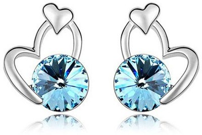 Womanwa Designer Blue Heart Metal Stud Earring