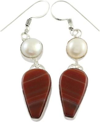 925 Silver Pearl, Carnelian Alloy Dangle Earring