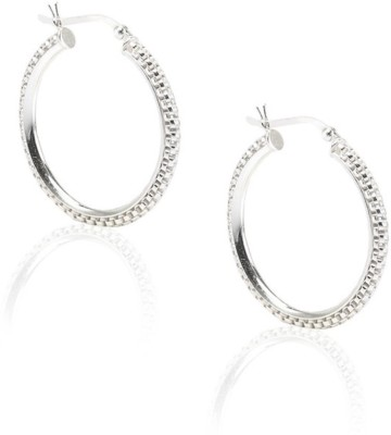 LeCalla Chain Links Modern Sterling Silver Hoop Earring