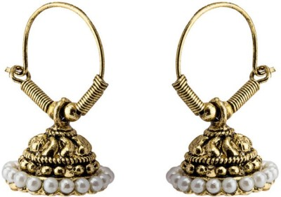 CTW Oxidised Bali With Beads Alloy Hoop Earring