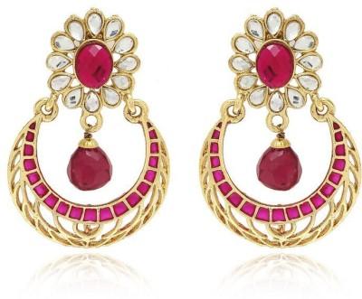 Luxor Floral Pattern Designer Pink E Alloy Chandbali Earring