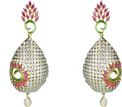 JDJ Imitation Jewelleris With Love Cubic Zirconia Brass Drop Earring