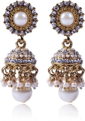 Shreemayi Creations VAAGMI Zircon, Pearl Alloy Jhumki Earring