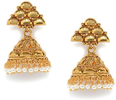 Alankruthi Pearl/Stone Studded Royal Antique Copper Jhumki Earring