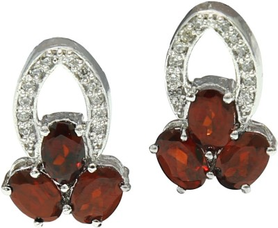 Angel Jewels Spring Sparkle Garnet Silver Stud Earring