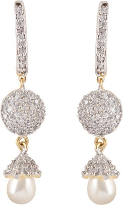 Syonaa Royal Yellow Gold Spring Sparkle Cubic Zirconia Brass Drop Earring