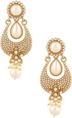 Voylla Artifictial Classic Textured Pearl Alloy Dangle Earring
