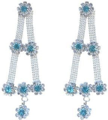 ACW Silver Plated Light Blue Stone Danglers Alloy Drop Earring