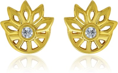 Mahi White Floral Wheel Cubic Zirconia Alloy, Brass Stud Earring