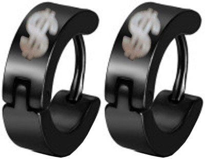 Men Style Dollar Shape Stainless Steel Hoop Earring