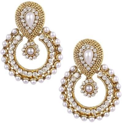 Navya Studded Pearl Brass Chandbali Earring